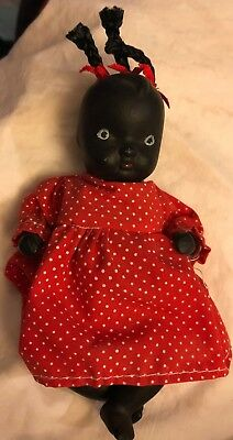 """Vintage 6"""" BLACK AMERICANA Bisque Jointed Doll w Red Dotted Dress"""