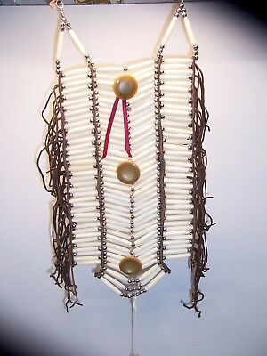 native American leather ,bone, beads button breastplate