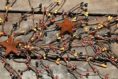 "40"" Pip Berry Garland with Rusty Stars - PRIMITIVE MIX"