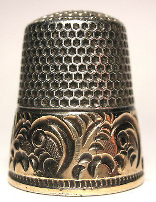 Ketcham & McDougall (KMD) Sterling/Gold Band Thimble w/Scrolls & Fronds  c.1890s