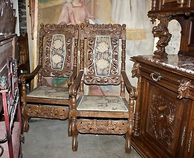 Carved OAK Wood Throne Chairs, Pair from 1890's