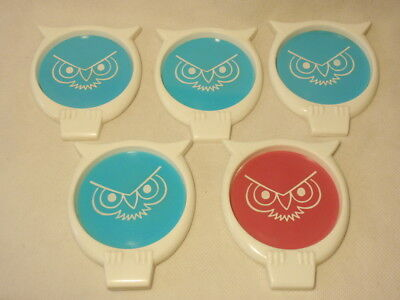 Set of 5 Vintage Plastic Owl Coasters Made in USA *As-Is*