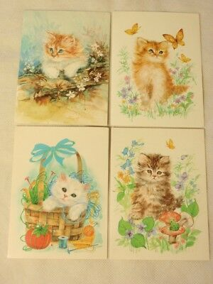 4 Kitty Cat Kittens Blank Note Cards by Sunshine