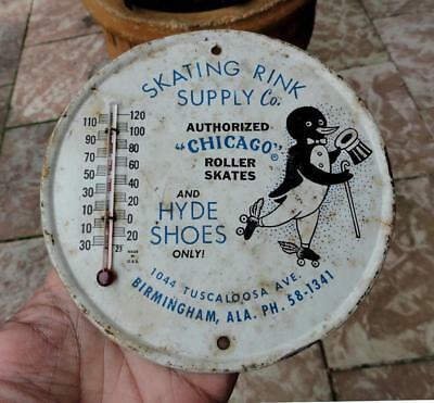 SKATING RINK & HYDE SHOES Working ADVERTISING SIGN Thermometer BIRMINGHAM, ALA