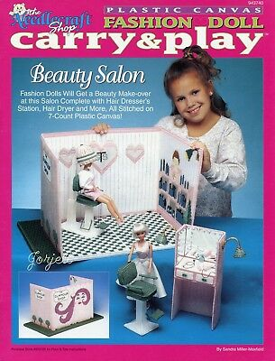 Carry & Play Beauty Salon ~ fits Barbie dolls, plastic canvas pattern booklet