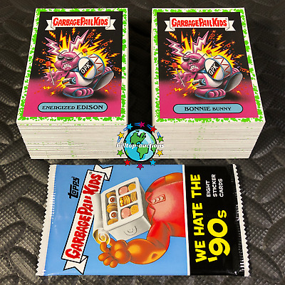 2019 GARBAGE PAIL KIDS WE HATE THE 90s COMPLETE GREEN PUKE 220-CARD SET +WRAPPER