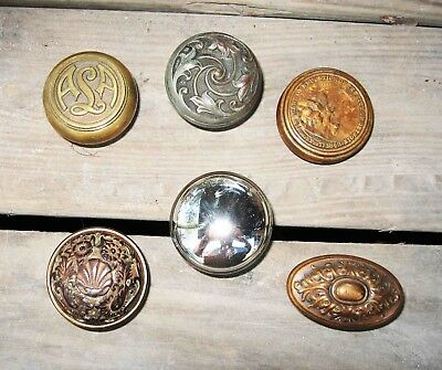 (6) Piece Lot Antique BRASS /BRONZE Victorian Door Knob Doorknobs w/DETROIT Edu