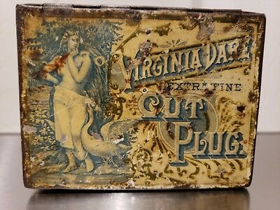 Virginia Dare Cut Plug Extra Fine Tobacco Advertising Tin Antique Art Nouveau