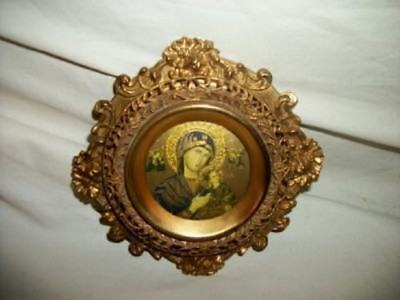Antique French Bronze Ormolu Convex Frame Byzantine Virgin Mary Jesus Gilt Etch