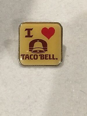 Vintage I Love Taco Bell Pin Fast Food Advertising Heart Tacos