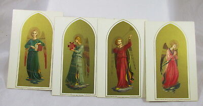 Antique German Postcards Set Angels in Golden Arches Playing Instruments&Praying