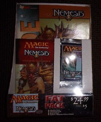 FACTORY SEALED Magic The Gathering NEMESIS Fat-Pack 6-Boosters 2-Premium Novel+