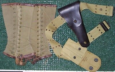 WWI M1912 Canvas Pistol Belt, 1918 Mag Pouch, Leather Holster, Leggings