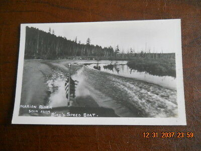 Postcard Of Marion River Seen From Bird's Speed Boat-Raquette Lake, N.Y.