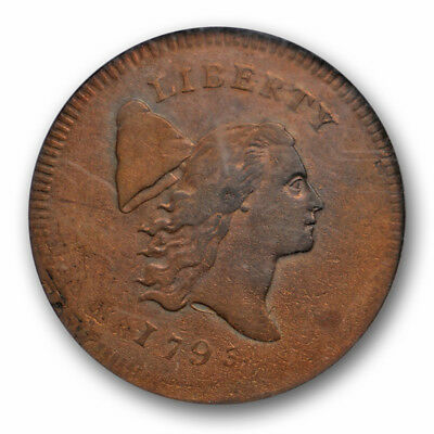 1795 No Pole Flowing Hair Half Cent NGC AU 55 BN C-6 A Overstruck Coin High End