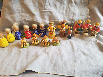 large lot of vintage wooden angels German & Italian & Czech figurines Christmas