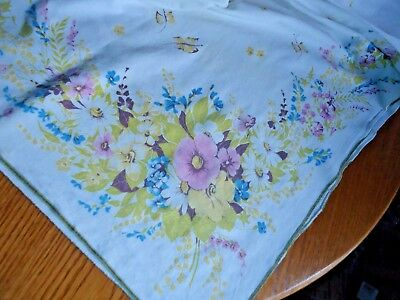 """Vintage Cotton Tablecloth Pink Blue Yellow Flowers Butterflies  48"""" x 56"""", GVC"""
