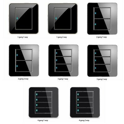 1/2/3/4 Gang 1/2 Way Modern Wall Light Switch Panel Push Buttons LED-Indicator