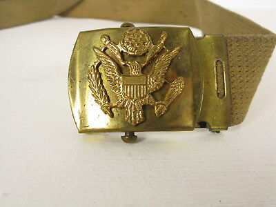 Vintage US Military Solid Brass Belt Buckle Eagle & Shield E Pluribus Unum canva