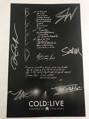 COLD Scooter Ward Band Signed Autograph Hand Written Lyrics Poster Print Bleed