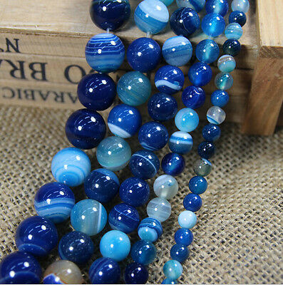 10PCS Charm Blue Striped Agate Round Natural Gemstone Loose Spacer Beads 10mm