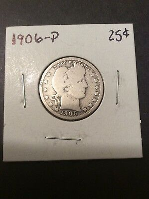 1906-P Barber Quarter, Nice Coin, Details, see pics and description!