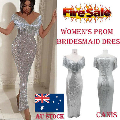 AU Women Formal Wedding Bridesmaid Evening Party Ball Gown Long Cocktail Dress
