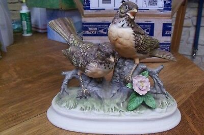 Vintage Bisque Porcelain Bird Figurines Pair Of Robins On A Branch