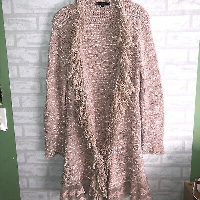Black friday Sale! Sioni Boho Lacy Swirl Fringe Open Cardigan szL