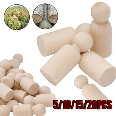 5/10/15/20Pcs Unpainted Blank Wooden Peg Dolls Little People Kids DIY Craft Toys