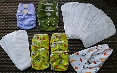 Lot of 11 Kawaii pocket cloth diapers, overnight, one size, 23 inserts + bag