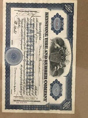 Keystone Tire and Rubber Company Stock Certificate