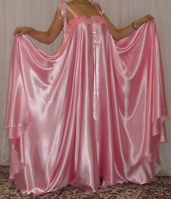 153b16dae2 VTG Lingerie Silky Satin Slip FULL Sweep Negligee Babydoll LONG Nightgown  M- 6X
