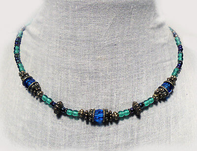 Studded Blue Crystal Lt Emerald Teal Iridescent Glass Necklace Mermaid Medieval