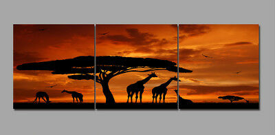 Sunset African Animals Big Tree Painting Canvas Abstract Art Wall Decor Framed