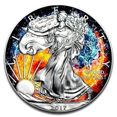 """2017 Silver Eagle """"FIRE AND WATER YIN YANG"""" 1 OZ .999 Fine Silver with COA/ BOX"""