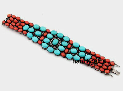 Natural Rose Cut Diamond Red Coral & Turquoise Victorian Wedding Bracelet
