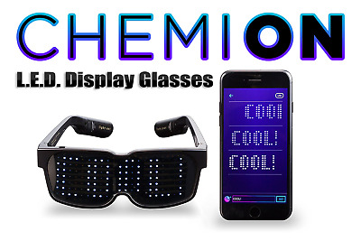 CHEMION-Customizable Bluetooth LED Glasses-Display Messages,Animation,Drawings!
