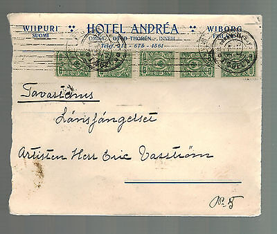 1916 Finland Censored Cover to Tavastenis Blue Wax Seal Hotel Andrea