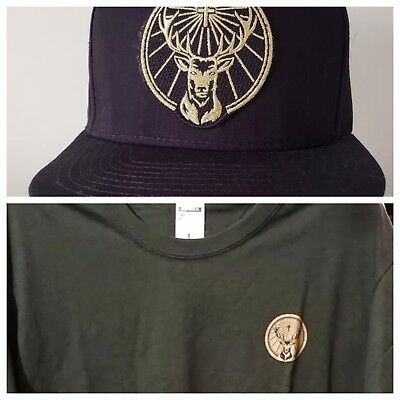 Jagermeister COMBO Embroidered Snapback Liquor Hat plus Green T Shirt size L
