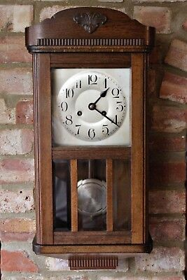 Antique German 8-Day Oak Case Striking Wall Clock