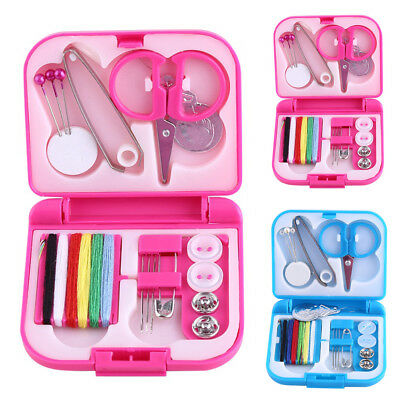 Portable Travel Home Sewing Kit Case Needle Thread Tape Scissor Handcraft Button