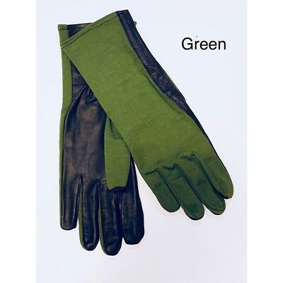 NOMEX FLIGHT FLYERS GLOVES PILOT FIRE RESISTANT Black, Green,Tan, Sage-All Sizes