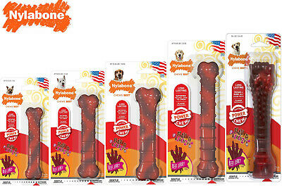 *New* Nylabone Beef Jerky Flavour Power Chew Tough Textured Durable Dog Bone Toy