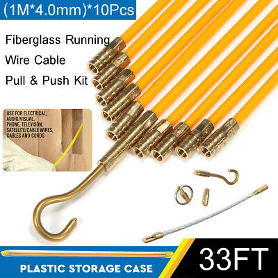 US 33' Fiberglass Wire Cable Running Rods Coaxial Fish Pull Holder Connector Kit