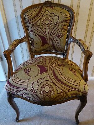 Reproduction Louis Style Chair in red and gold - NEWLY UPHOLSTERED