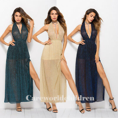 3 Colors Sexy Women Backless Long Dress Prom Evening Party Cocktail Gown Dresses