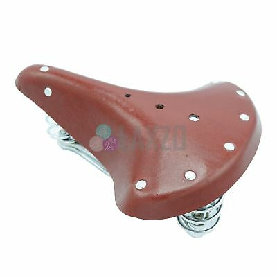 Brown Genuine Leather Vintage Retro Sprung Bicycle Saddle Seat