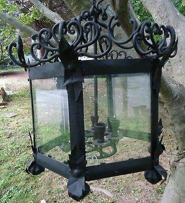 Vintage Gothic Black Hand Wrought Iron Candelabra Chandelier Six Sided Glass.