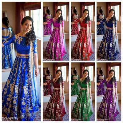 Designer Bollywood Wedding Party Wear Lehenga Indian Anarkali Lengha Choli NW